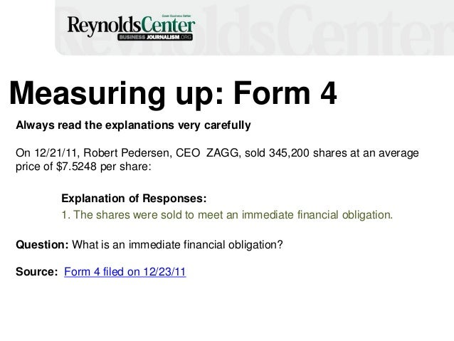 Measuring up: Form 4 Always read the explanations very carefully On 12/21/11, Robert Pedersen, CEO ZAGG, sold 345,200 shar...