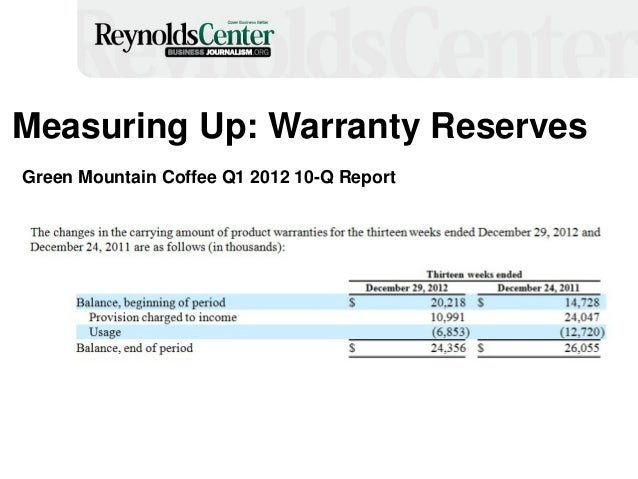 Measuring Up: Warranty Reserves Green Mountain Coffee Q1 2012 10-Q Report