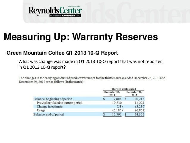 Measuring Up: Warranty Reserves Green Mountain Coffee Q1 2013 10-Q Report