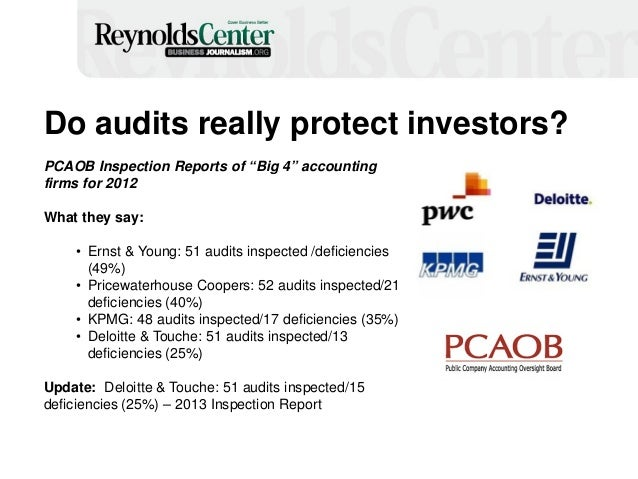 """Do audits really protect investors? PCAOB Inspection Reports of """"Big 4"""" accounting firms for 2012 What they say: • Ernst &..."""
