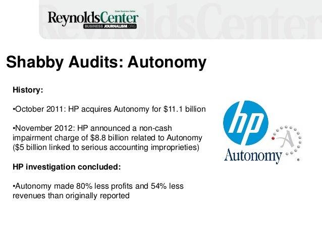 Shabby Audits: Autonomy History: •October 2011: HP acquires Autonomy for $11.1 billion •November 2012: HP announced a non-...
