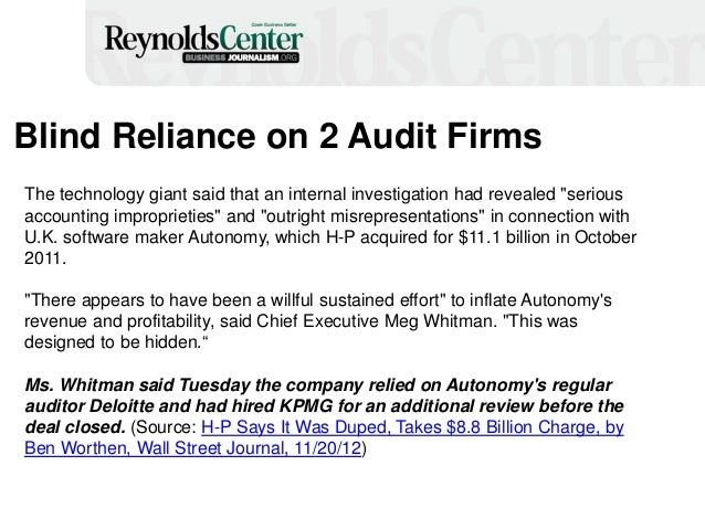 """Blind Reliance on 2 Audit Firms The technology giant said that an internal investigation had revealed """"serious accounting ..."""