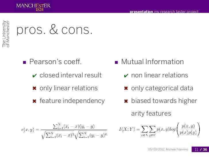 presentation my research taster projectpros. & cons. ■ Pearson's coeff.              ■ Mutual Information   ✔   closed inte...