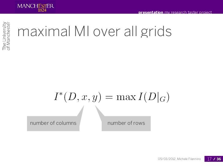 presentation my research taster projectmaximal MI over all grids  number of columns   number of rows                      ...