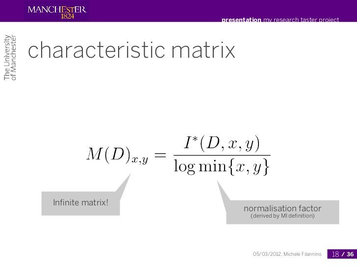 presentation my research taster projectcharacteristic matrix  Infinite matrix!                           normalisation fact...