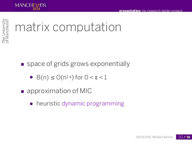presentation my research taster projectmatrix computation■ space of grids grows exponentially   ●   B(n) ≤ O(n1-ε) for 0 <...