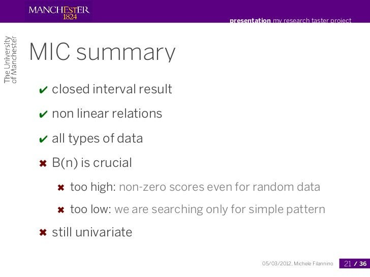 presentation my research taster projectMIC summary✔   closed interval result✔   non linear relations✔   all types of data✖...