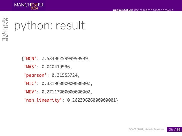presentation my research taster projectpython: result {MCN: 2.5849625999999999,  MAS: 0.040419996,  pearson: 0.31553724,  ...