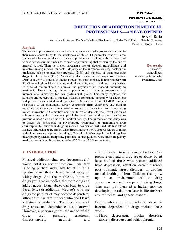 Dr.Anil Batta,J Biosci Tech, Vol 2 (3),2011, 305-311                                         DETECTION OF ADDICTION IN MED...