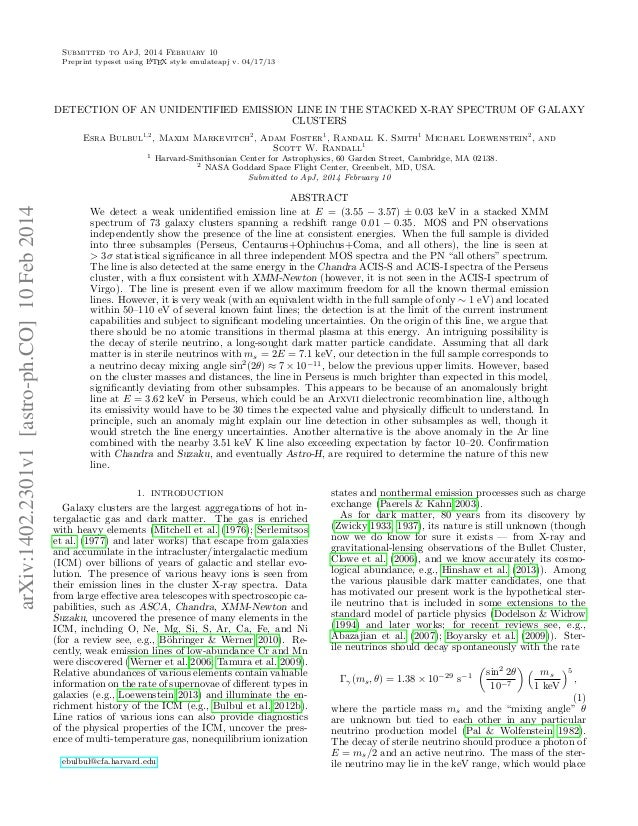 Submitted to ApJ, 2014 February 10 Preprint typeset using LATEX style emulateapj v. 04/17/13 DETECTION OF AN UNIDENTIFIED ...