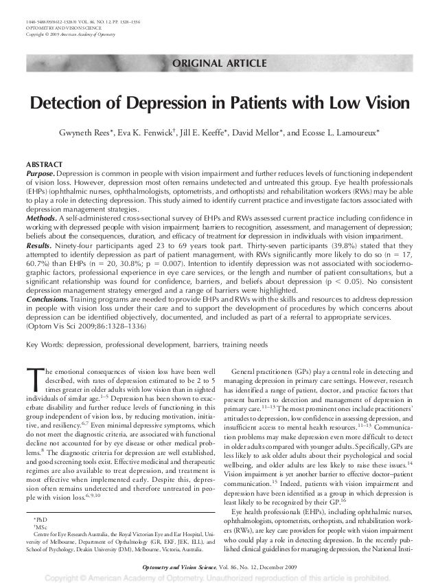 ORIGINAL ARTICLE Detection of Depression in Patients with Low Vision Gwyneth Rees*, Eva K. Fenwick† , Jill E. Keeffe*, Dav...
