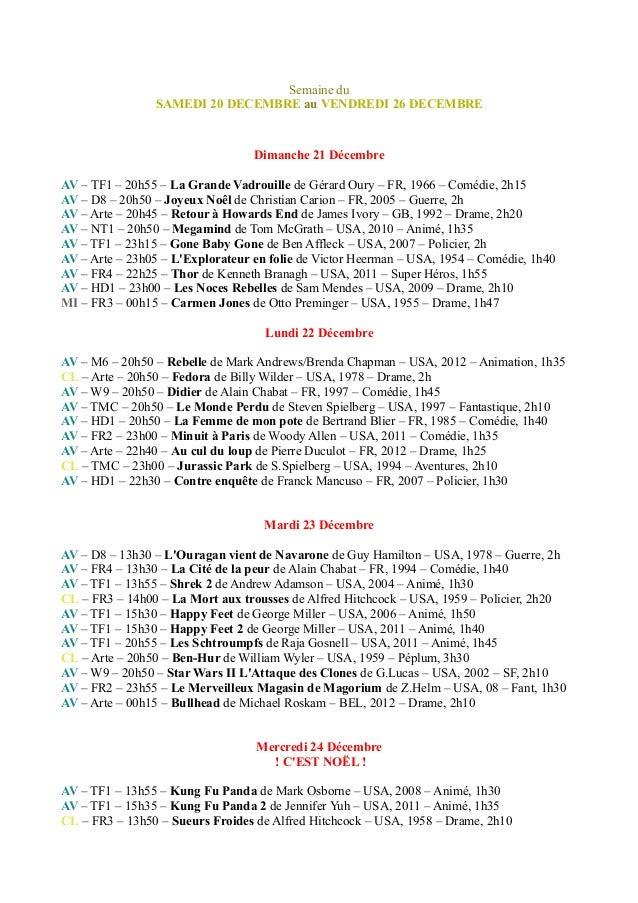 Semaine du SAMEDI 20 DECEMBRE au VENDREDI 26 DECEMBRE Dimanche 21 Décembre AV – TF1 – 20h55 – La Grande Vadrouille de Géra...