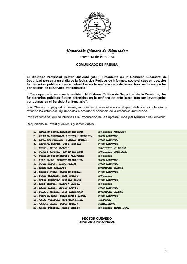 Honorable Cámara de Diputados Provincia de Mendoza COMUNICADO DE PRENSA El Diputado Provincial Hector Quevedo (UCR), Presi...