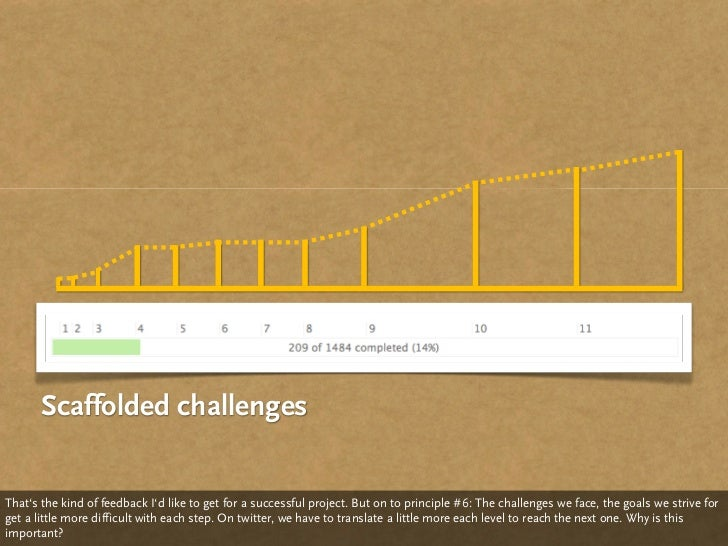 Scaffolded challenges   That's the kind of feedback I'd like to get for a successful project. But on to principle #6: The ...