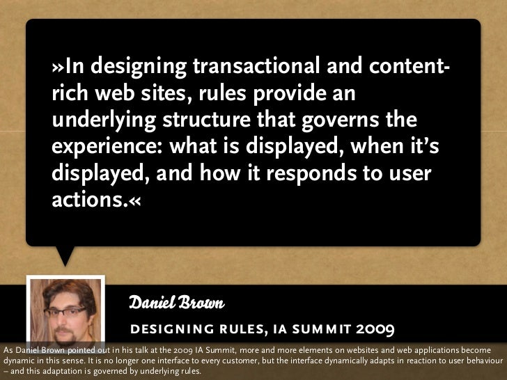 »In designing transactional and content-              rich web sites, rules provide an              underlying structure t...