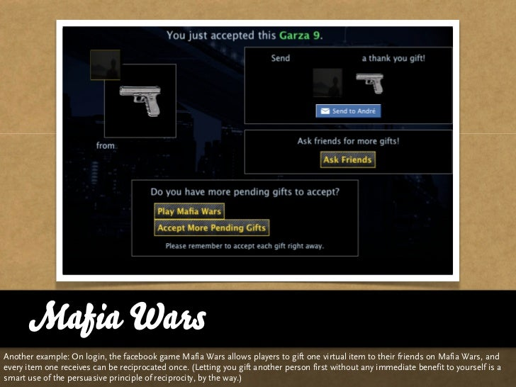 Mafia Wars Another example: On login, the facebook game Mafia Wars allows players to gift one virtual item to their friend...