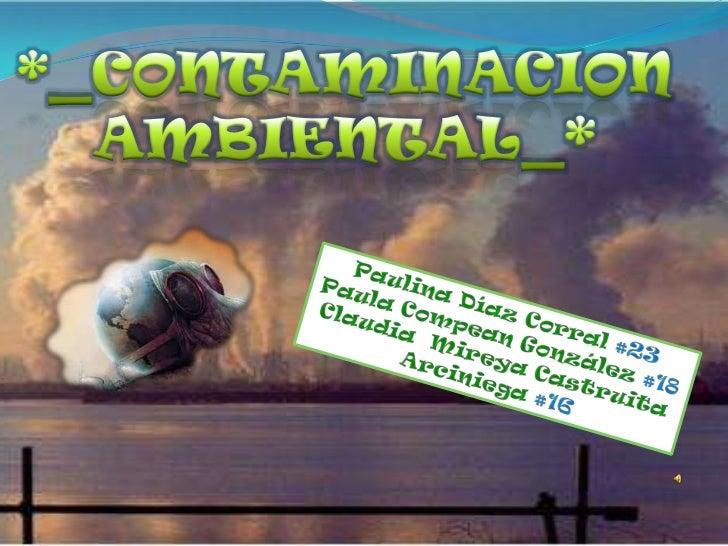 *_CONTAMINACION AMBIENTAL_*<br />Paulina Díaz Corral #23 <br />Paula Compean González #18<br />Claudia  Mireya Castruita A...