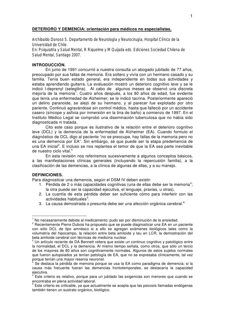1  DETERIORO Y DEMENCIA: orientación para médicos no especialistas.  Archibaldo Donoso S. Departamento de Neurología y Neu...