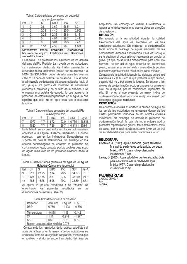En la tabla II se presentan los resultados de los análisis del agua del Río Presidio. La mayoría de los indicadores se man...
