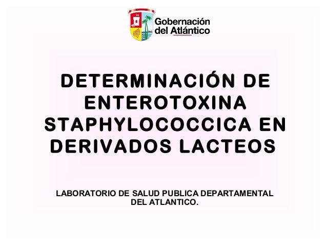 DETERMINACIÓN DE ENTEROTOXINA STAPHYLOCOCCICA EN DERIVADOS LACTEOS LABORATORIO DE SALUD PUBLICA DEPARTAMENTAL DEL ATLANTIC...