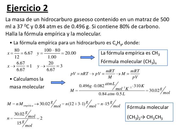 ejercicios de formula empirica y molecular 1o bachillerato resueltos pdf