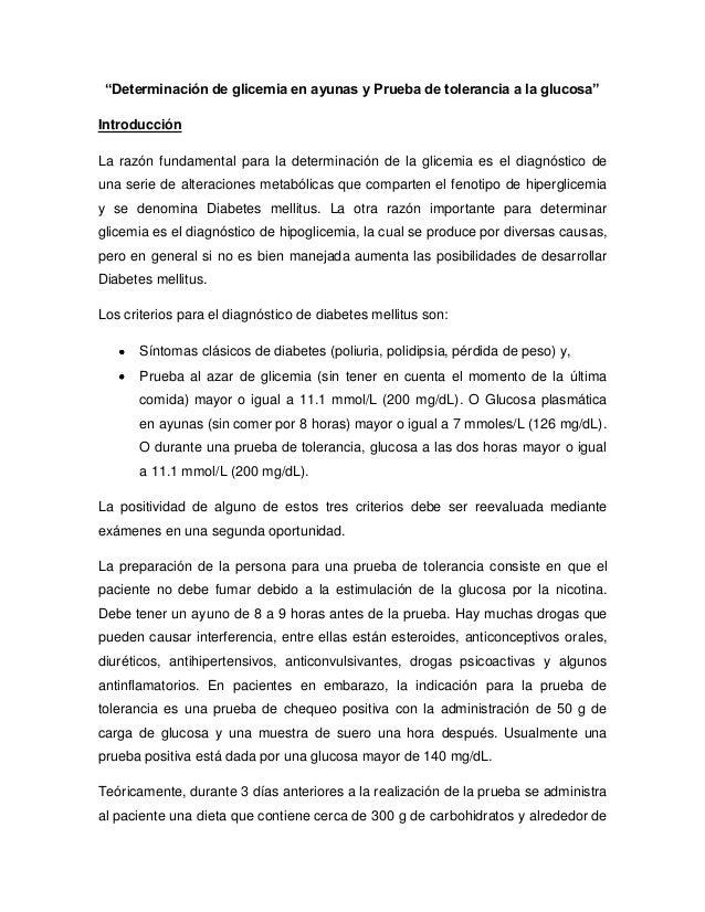 Determinación de glicemia en ayunas y prueba de tolerancia