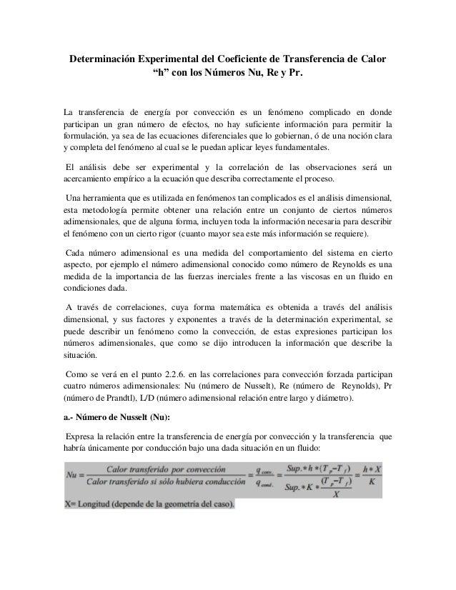 """Determinación Experimental del Coeficiente de Transferencia de Calor """"h"""" con los Números Nu, Re y Pr. La transferencia de ..."""