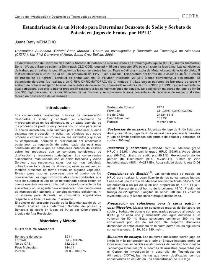 Determinacion de conservantes por hplc