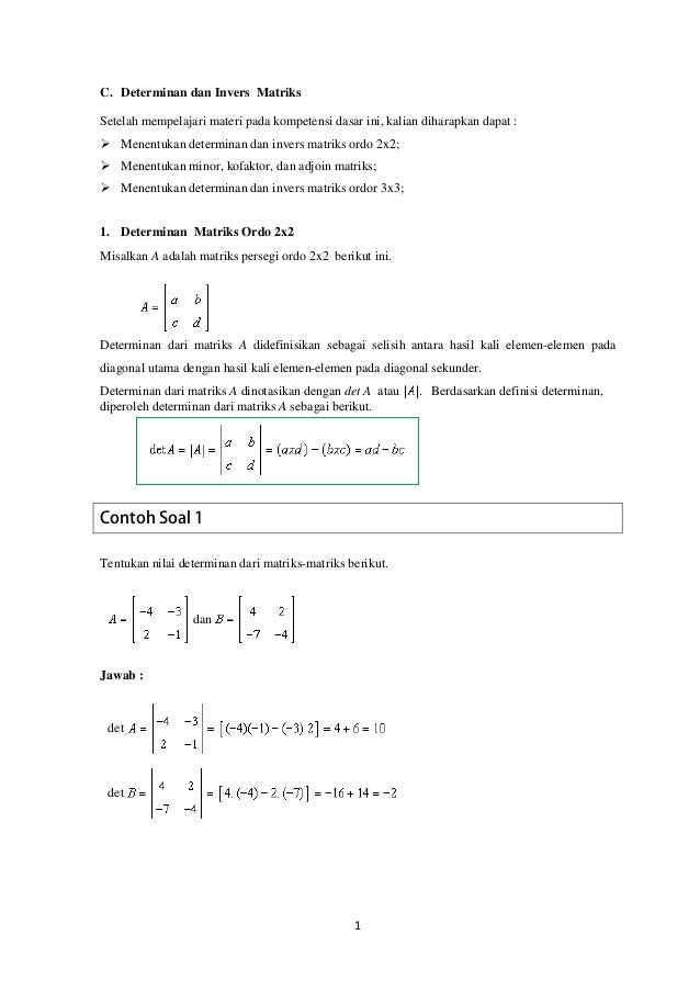 Contoh Latihan Soal Soal Matematika Tentang Determinan Matriks