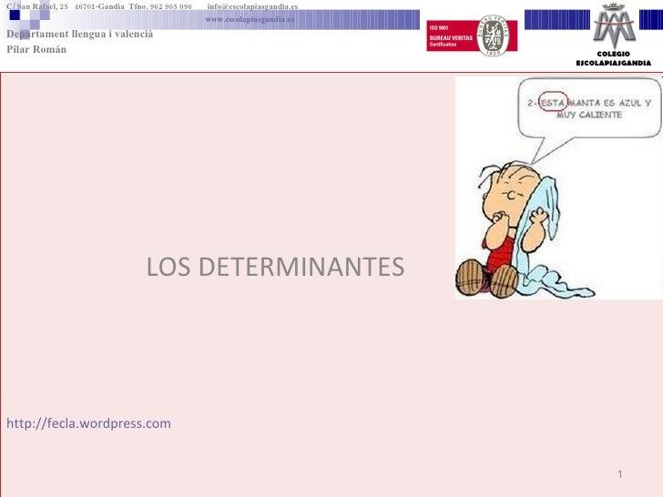 LOS DETERMINANTES http://fecla.wordpress.com C/ San Rafael, 25  46701-Gandia  Tfno. 962 965 096    [email_address]   www.e...