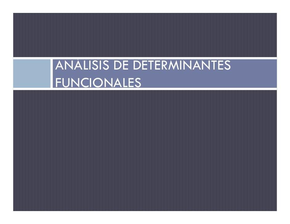 ANÁLISIS DE DETERMINANTES FUNCIONALES