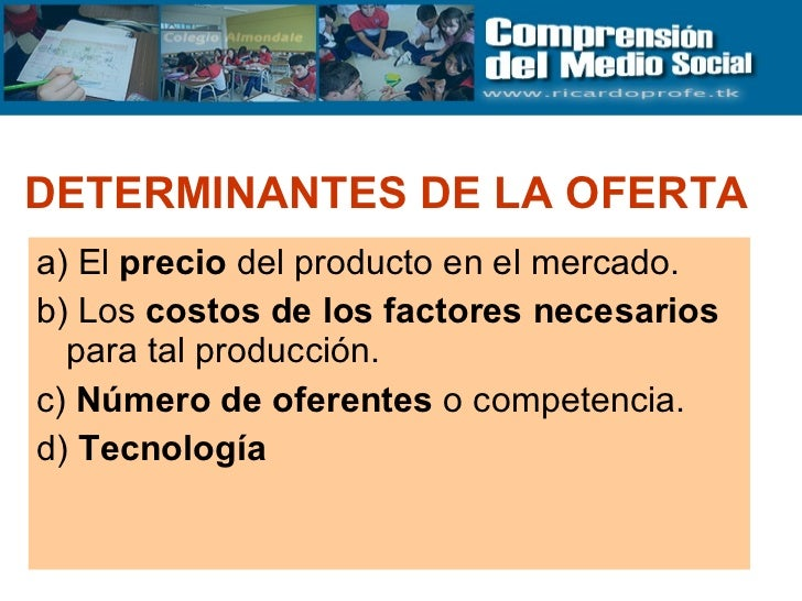 DETERMINANTES DE LA OFERTA   <ul><li>a) El  precio  del producto en el mercado.  </li></ul><ul><li>b) Los  costos de los f...