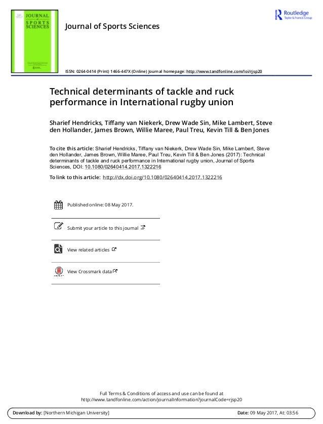Determinantes técnicos en el rendimiento en el placaje y ruck Slide 2