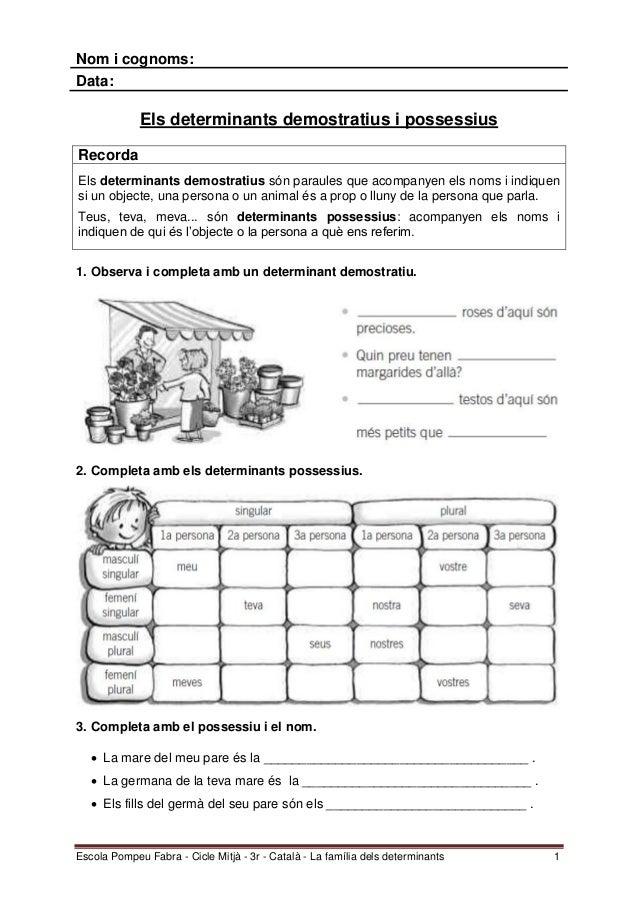 Escola Pompeu Fabra - Cicle Mitjà - 3r - Català - La família dels determinants 1Nom i cognoms:Data:Els determinants demost...