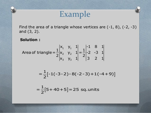 Determinants example find the area of a triangle ccuart Choice Image