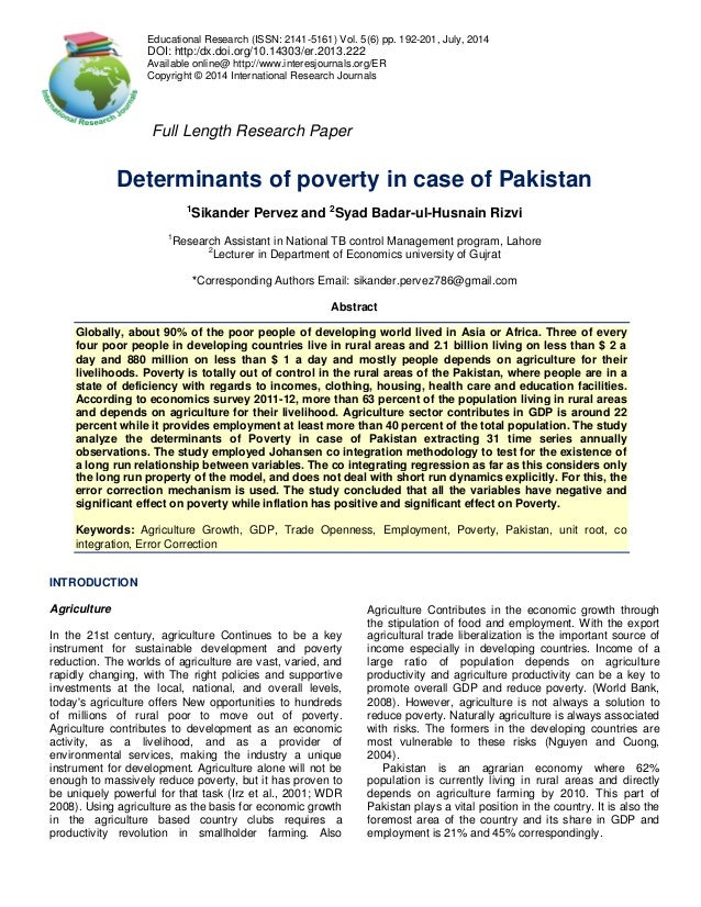 research papers poverty pakistan Academiaedu is a platform for academics to share research papers impact of remittances on gdp and poverty on gdp and poverty alleviation of pakistan.