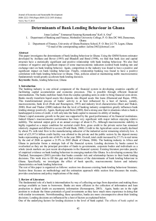 Journal of Economics and Sustainable Development ISSN 2222-1700 (Paper) ISSN 2222-2855 (Online) Vol.4, No.17, 2013  www.ii...