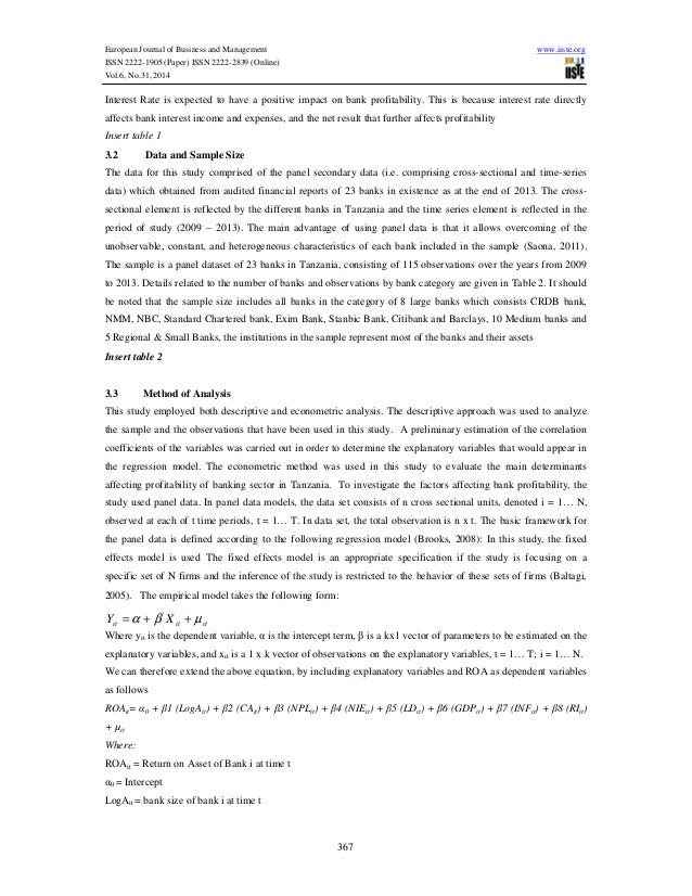 determinants of profitability of a bank The exception of interest rate, affect bank profitability in the anticipated ways   there is an abundant literature on the determinants of bank profitability both in.