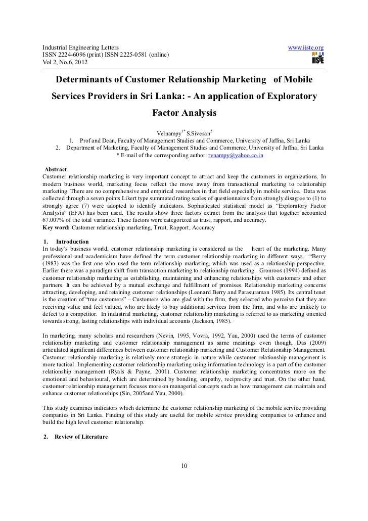 Determinants of customer relationship marketing of mobile services providers in sri lanka