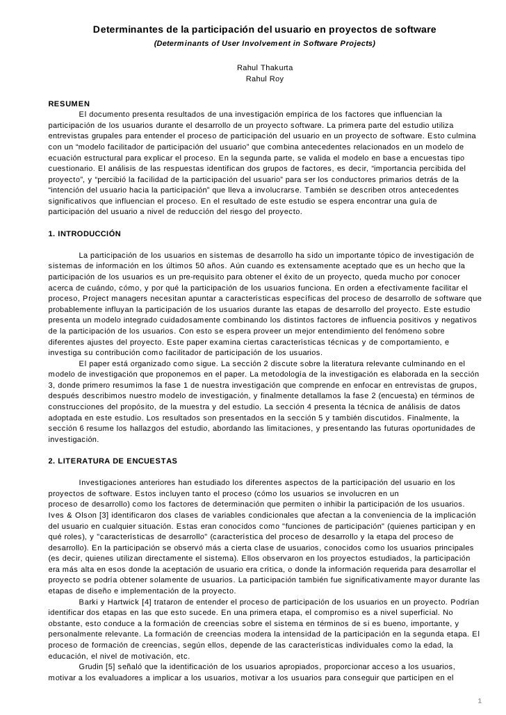 Determinantes de la participación del usuario en proyectos de software                            (Determinants of User In...