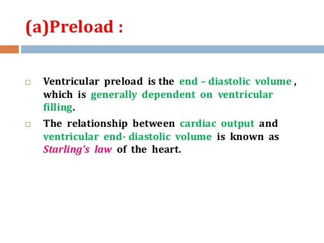 relationship between end diastolic volume and cardiac output