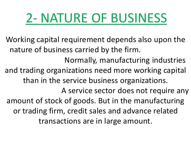 determinants of working capital investment