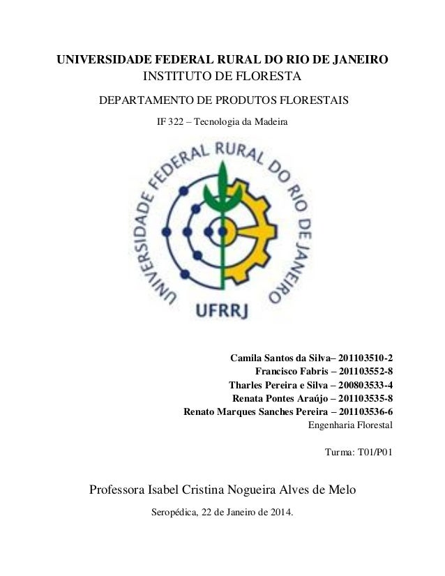 UNIVERSIDADE FEDERAL RURAL DO RIO DE JANEIRO INSTITUTO DE FLORESTA DEPARTAMENTO DE PRODUTOS FLORESTAIS IF 322 – Tecnologia...