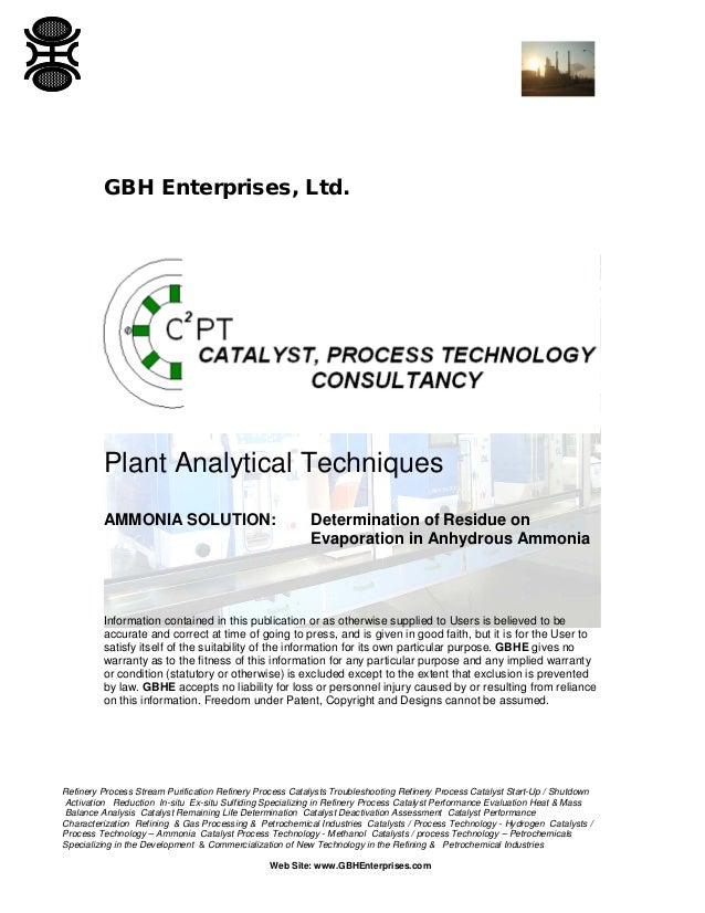 GBH Enterprises, Ltd.  Plant Analytical Techniques AMMONIA SOLUTION:  Determination of Residue on Evaporation in Anhydrous...