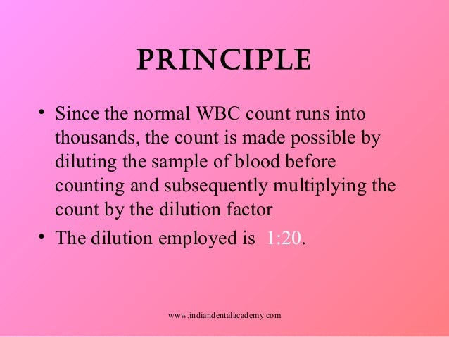 principle of wbc count
