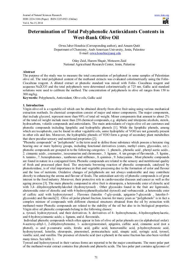 Journal of Natural Sciences Research www.iiste.org ISSN 2224-3186 (Paper) ISSN 2225-0921 (Online) Vol.4, No.15, 2014 71 De...