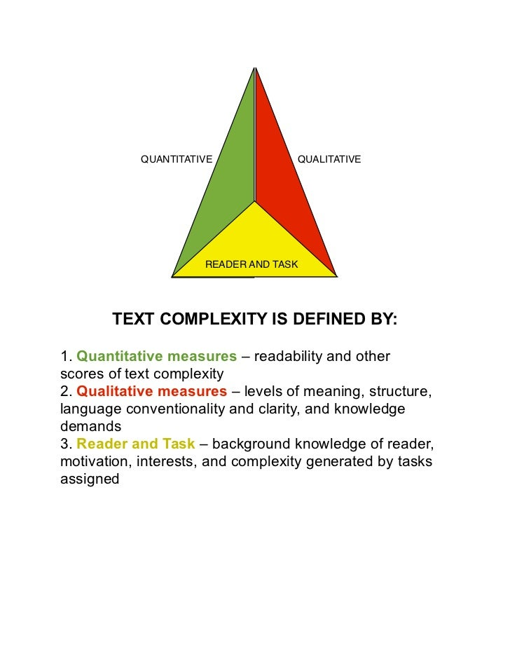 QUANTITATIVE!            QUALITATIVE                       READER AND TASK       TEXT COMPLEXITY IS DEFINED BY:1. Quantita...