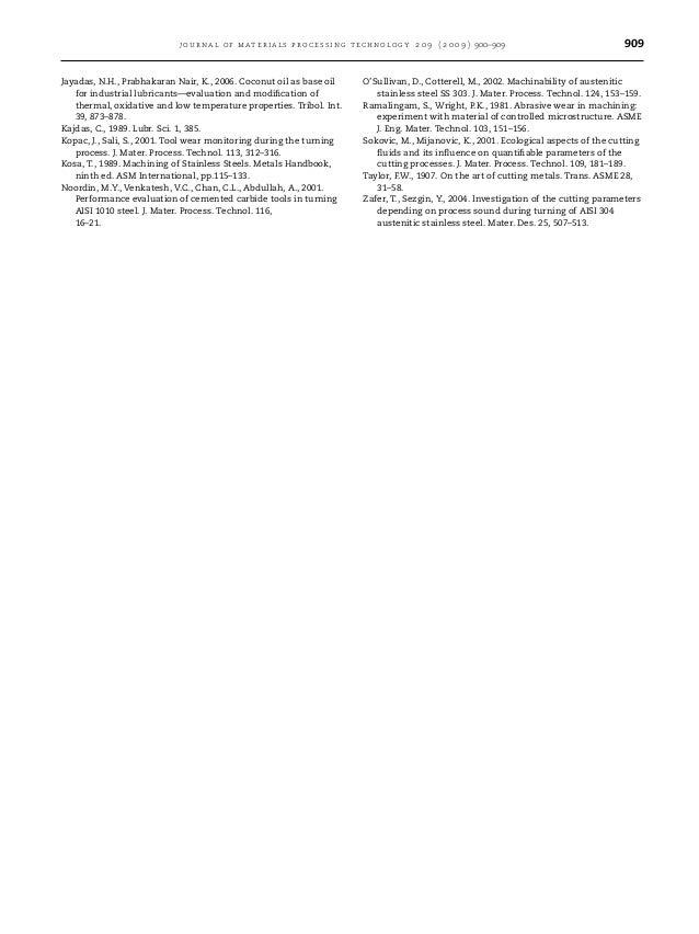 journal of materials processing technology 2 0 9 ( 2 0 0 9 ) 900–909 909 Jayadas, N.H., Prabhakaran Nair, K., 2006. Coconu...