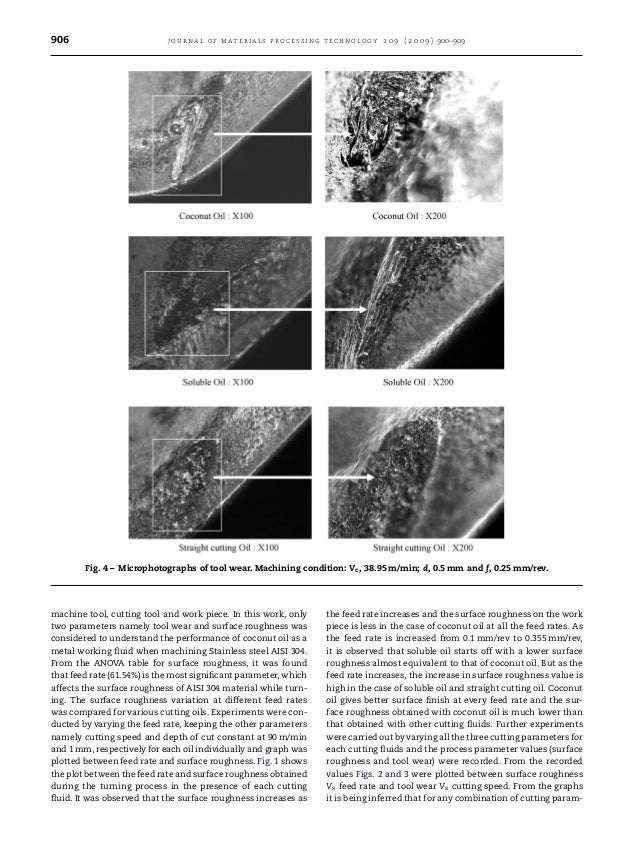 906 journal of materials processing technology 2 0 9 ( 2 0 0 9 ) 900–909 Fig. 4 – Microphotographs of tool wear. Machining...