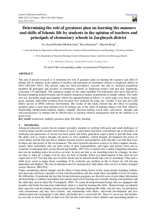 Journal of Education and Practice www.iiste.org ISSN 2222-1735 (Paper) ISSN 2222-288X (Online) Vol.4, No.14, 2013 146 Dete...